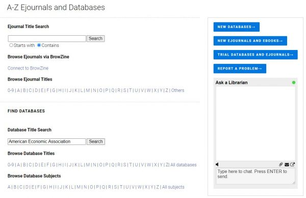 Screenshot of database search